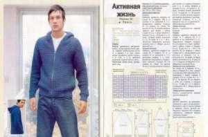 Фото и схемы вязания мужских свитеров спицами